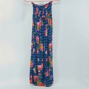 JSTFY Navy Blue Red Floral Strapless Maxi Dress